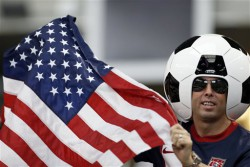 A United States fan shows his support before the first half of the Gold Cup semifinals against Honduras at Cowboys Stadium, Wednesday, July 24, 2013, in Arlington, Texas. (AP Photo/Brandon Wade)